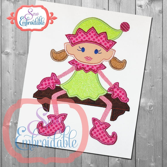 Sitting Elf Girl Applique - embroidery-boutique