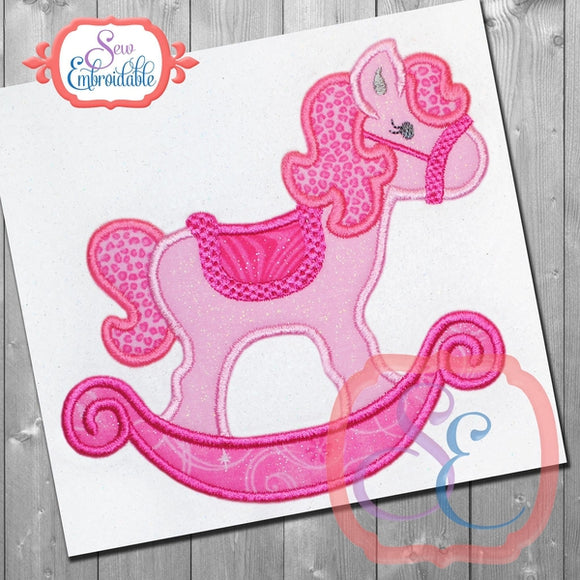 Rocking Horse Girl Applique