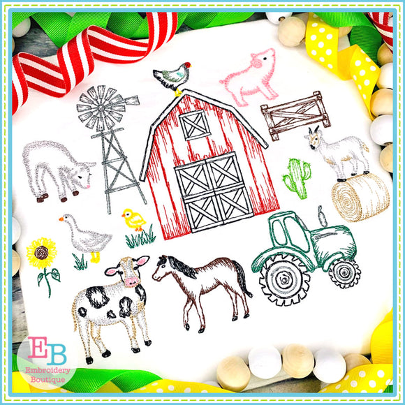 Farm Sketches Embroidery Design Set, Embroidery