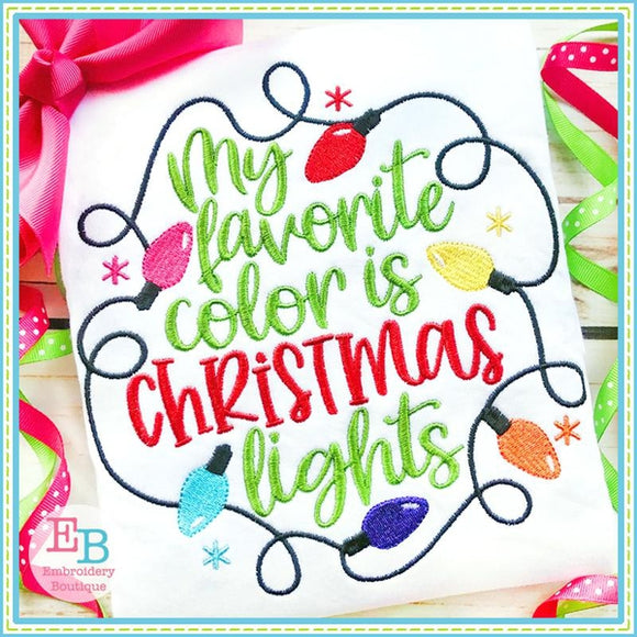 Favorite Color Christmas Lights Embroidery, Embroidery