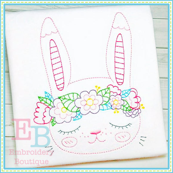 Vintage Flower Bunny Design, Embroidery
