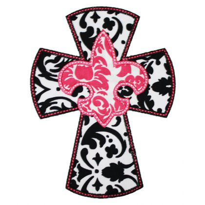 Fleur De Lis Cross Applique - embroidery-boutique