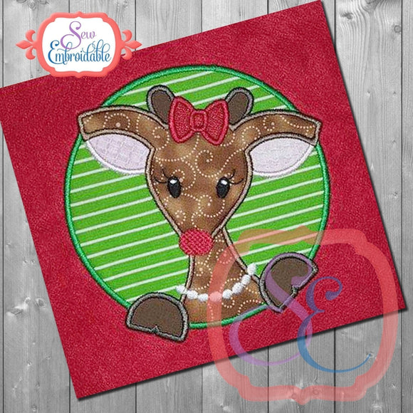 Reindeer Girl Circle Applique - embroidery-boutique