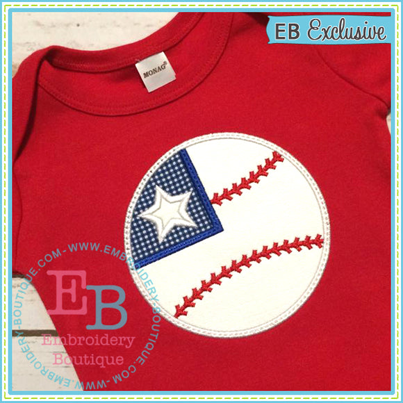 Flag Baseball Applique, Applique