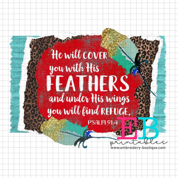 Feathers Refuge Printable Design PNG