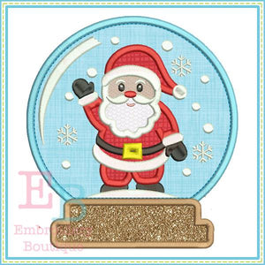 Santa Snow Globe Applique, Applique