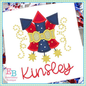 3 Fireworks with Bow Applique, Applique