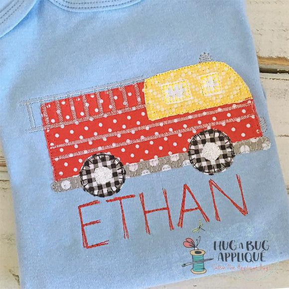 Firetruck Blanket Stitch Applique Design, Applique