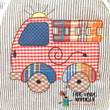 Fire Truck Bean Stitch Applique Design