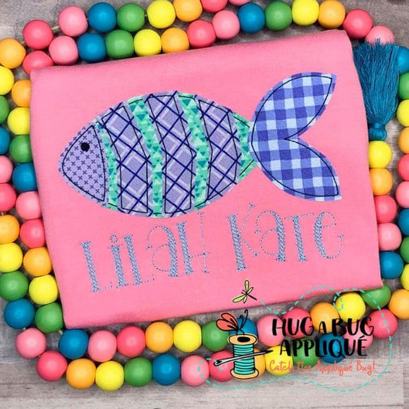 Fish 1 Bean Stitch Applique Design-Embroidery Boutique