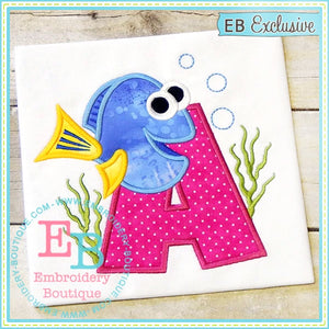 Miss Fish Applique Alphabet, Applique Alphabet