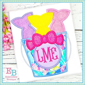 Fish Bucket with Bow Satin Applique