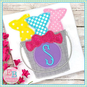 Fish Bucket with Bow Zigzag Applique