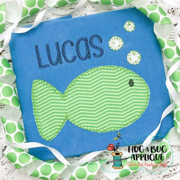 Fish Bubbles Blanket Stitch Applique Design-Embroidery Boutique