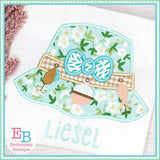 Fishing Hat with Bow Satin Applique