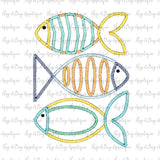 Fish Trio Zig Zag Stitch Applique Design, Applique