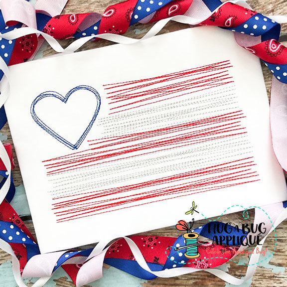 Heart Flag Scribble Embroidery Design-Embroidery Boutique