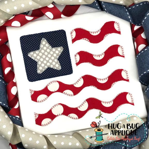 Flag Star Wave Blanket Stitch Applique Design