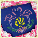 Flamingos Flowers Watercolor Embroidery Design, Embroidery