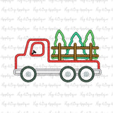 Flatbed Truck Trees Satin Stitch Applique Design, Applique