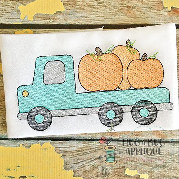 Flatbed Truck Pumpkin Sketch Embroidery Design, Embroidery