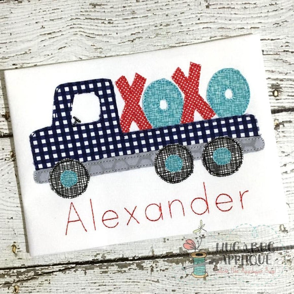 Flatbed XOXO Bean Stitch Applique Design, Applique
