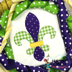 Fleur De Lis Bean Stitch Applique Design, Applique