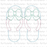 Flip Flop Bow Bean Stitch Applique Design