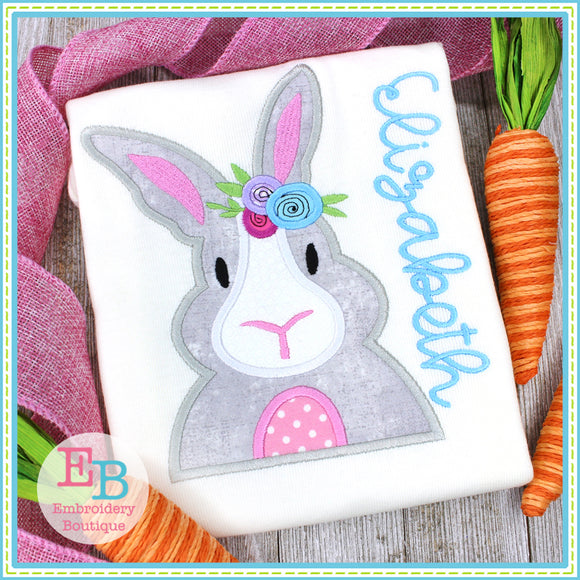 Floral Bunny Satin Applique, Applique