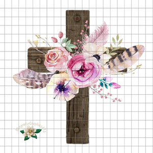 Floral Cross PNG Printable Design