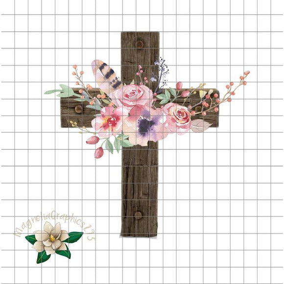 Floral Wooden Cross PNG Printable Design, Printable