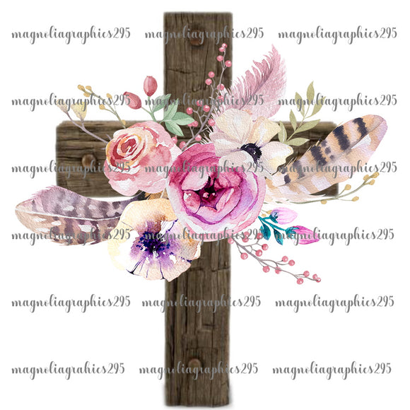 Floral Cross Printable Design PNG