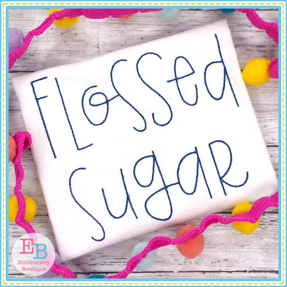 Flossed Sugar Embroidery Font, Embroidery Font