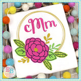 Flower Circle Frame Applique, Applique