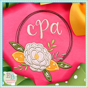 Flower Circle Frame Satin Stitch Applique, Applique