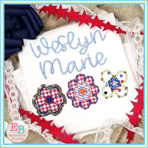 Flower Trio Bean Applique