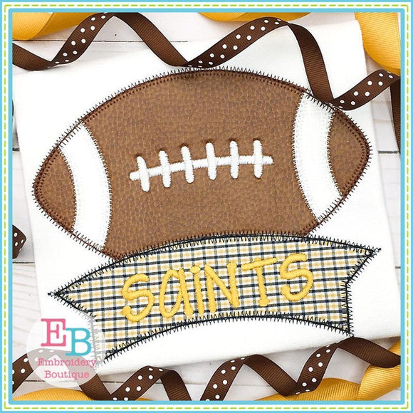 Football Banner Zigzag Applique, Applique
