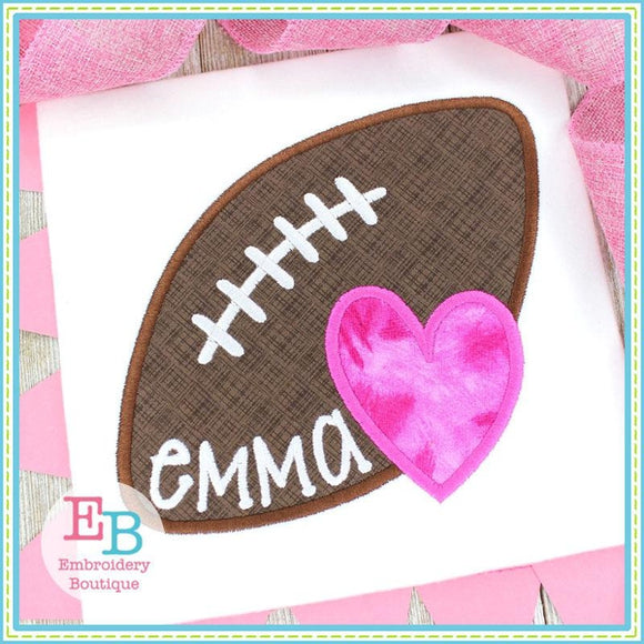 Football Heart Satin Applique