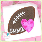 Football Heart Satin Applique, Applique