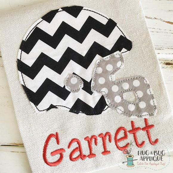 Football Helmet Bean Stitch Applique, Applique