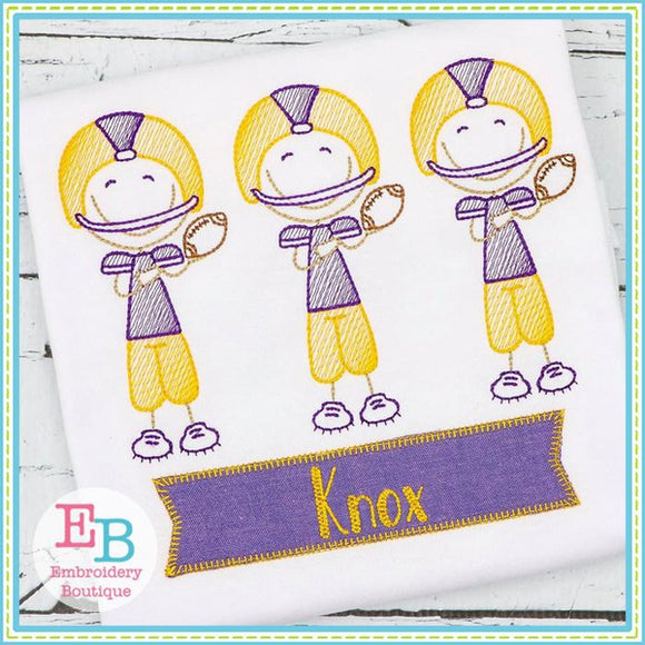 Football Player Trio Sketch Design, Embroidery
