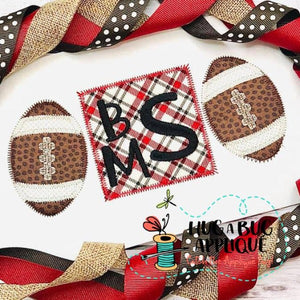 Football Square Trio Zig Zag Stitch Applique Design, Applique
