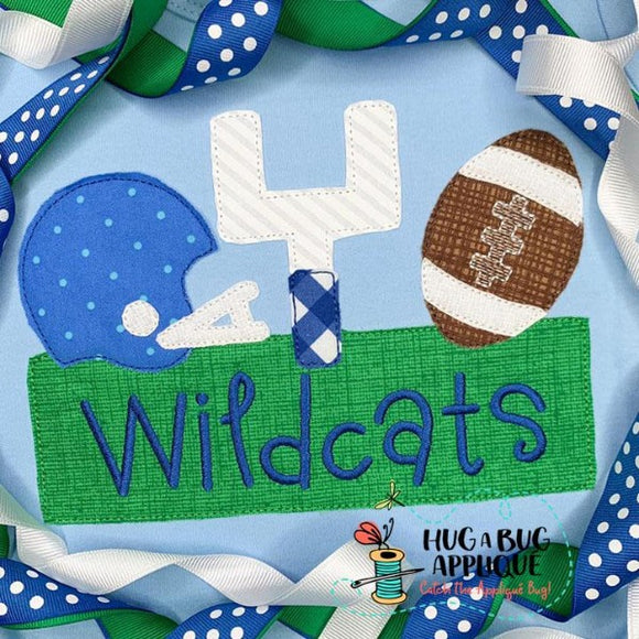 Football Trio Box Bean Stitch Applique Design, Applique