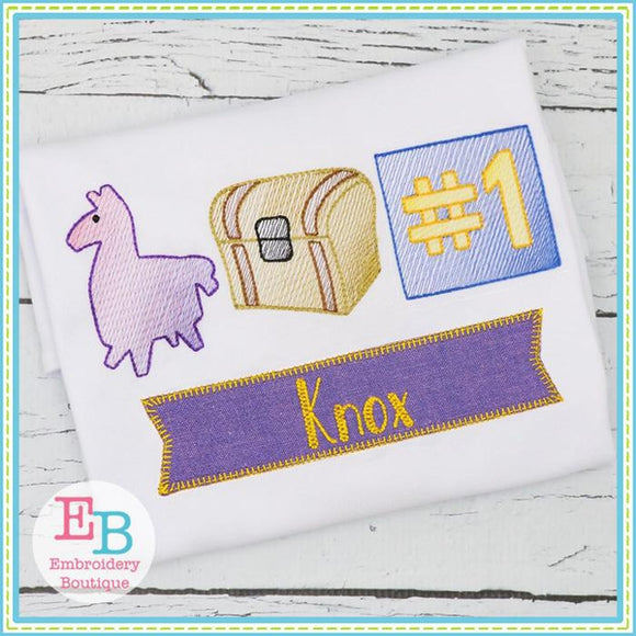 Fort Llama Sketch Design, Embroidery
