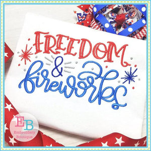 Freedom and Fireworks Design, Embroidery