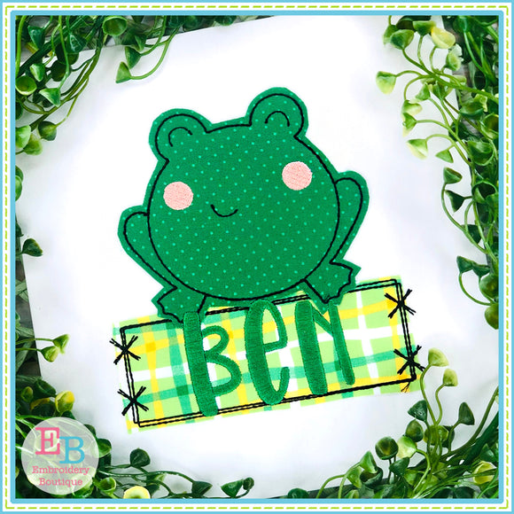 Frog Banner Bean Stitch Applique, Applique