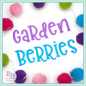 Garden Berries Embroidery Font, Embroidery Font