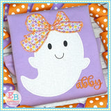 Ghost Big Bow Zigzag Stitch Applique, Applique