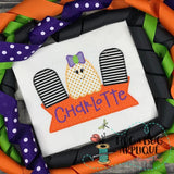 Ghost Bow Grave Trio Box Zig Zag Stitch Applique Design, Applique