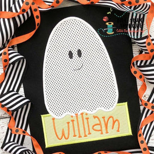Ghost Boy Satin Stitch Applique Design, Applique